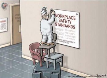 Safety in the workplace is also important in museums. Cartoon by the generous permission of Clay Bennet